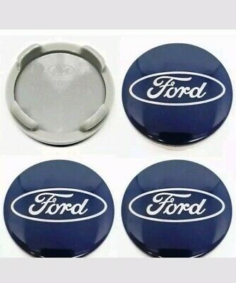 4x Ford 54mm Blue Alloy Wheels Centre Caps Fit Most Models Focus Fiesta Mondeo