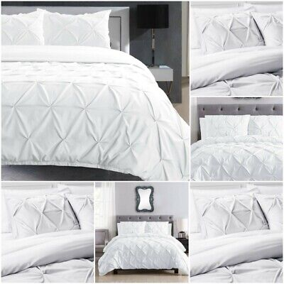 White Pintuck Cover Bedding Set Quilt Bed 100% Cotton Single Double Super King