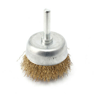 """2""""Brass Coated Steel Wire Polishing Cup Brush Shank 6mm for Rotary Buffing Tool"""
