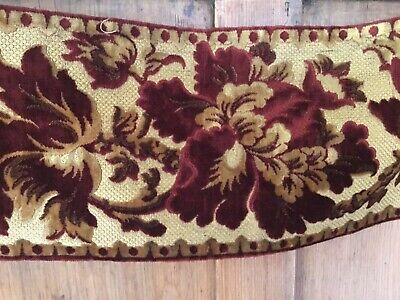 """Antique French cut velvet long length - red and gold - over 2 yds 7.5"""" wide"""