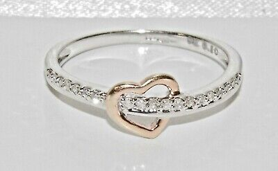 9ct White & Rose Gold 0.10ct Diamond Heart Engagement Ring size L
