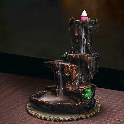 Retro Mountain Waterfall Smoke Backflow Incense Burner Holder Home Decorate AU