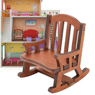 1:12 Scale Dollhouse Miniature Wooden Rocking Chair Dolls Toys Furniture Decor ❤