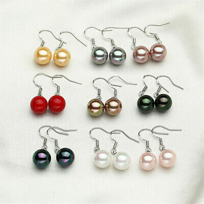 10mm Natural Shell Pearl Earrings Silver Hook Fashion Gift TwoPin Classic Aurora