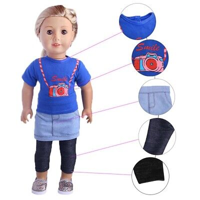 3pcs Baby T-shirt/Skirt/Leggings  Doll Clothes 18in Toy Doll Gift for Children ❤