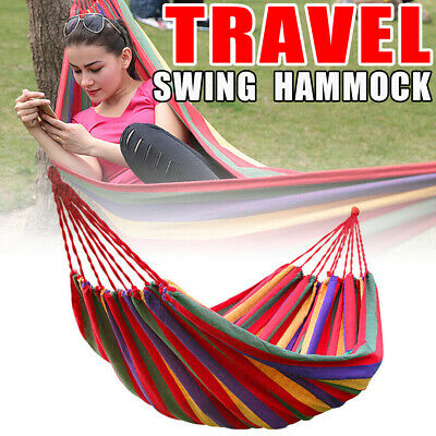 Red Color Hammock Two Person Double Cotton Swing Camping Outdoor Camping
