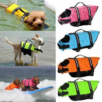 Dog Life Jacket Safety Vest Pet Preserver Saver Swim Aquatic Swimming Surf Water