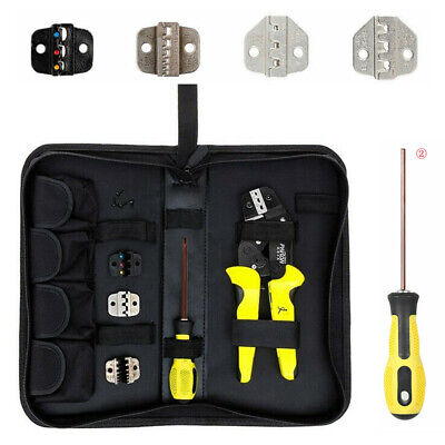 4 In 1 Wire Crimpers  Ratcheting Terminal Crimping Pliers Kit+ Storage Bag+ Dies