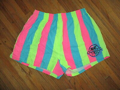 vtg VUARNET SHORTS SWIM SUIT TRUNKS Sunglasses Brand Neon Stripe Pastel 80s 90s