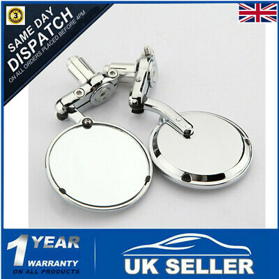 7/8'' Universal Motorcycle Bar End Mirrors Chrome For Honda Kawasaki Suzuki BMW