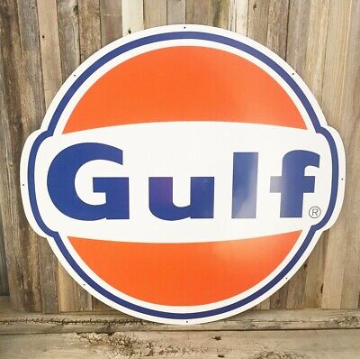 "Gulf Gasoline Gas Oil Large Round Metal Steel Sign Garage 25.5"" Vintage New"