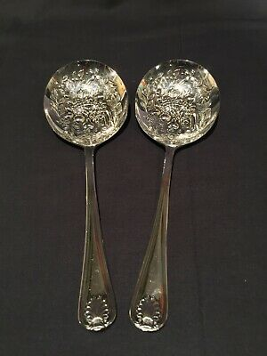 "2 Antique Reposse 8.5"" Silverplate Embossed Berry Spoons, Sheffield England"