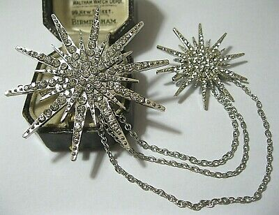 Vintage style Art Deco Jewellery Crystal Rhinestone Double STAR Duet Pin BROOCH