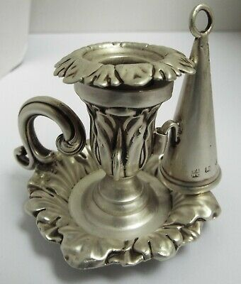 Lovely Rare English Antique Victorian 1848 Solid Sterling Silver Chamberstick