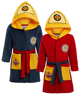 Boys Fireman Sam 3D Novelty Hooded Fleece Dressing Gown Kids Plush Bath Robe