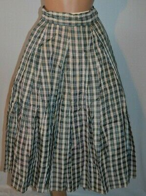 "Vintage 50s Taffeta Blue/Brown/White Plaid Full Hip Skirt - 25"" waist - XS/S"