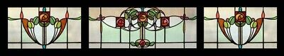 Stunning Rare Art Nouveau Mackintosh Rose SET OF 3 English Stained Glass Windows