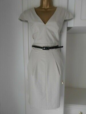 """Next Uk 16  Stylish  Belted Lined Shift Dress In Vg Con  Bust 42"""""""