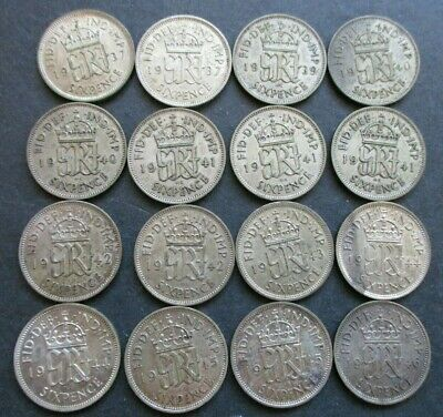 1937 - 1946 GEORGE VI  SILVER SIXPENCE A/UNC COINS x 16, UNCLEANED.