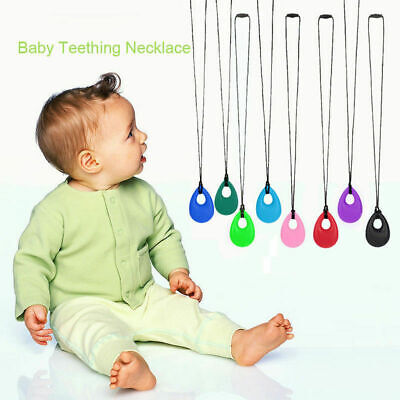 UK Kids Baby Chewy Necklace Anti Autism ADHD Biting Sensory Toys Chew Teethin