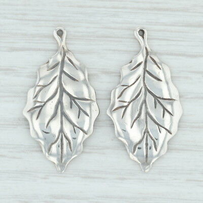 Leaf Enhancer Charms - Sterling Silver 925 Dangle Jewelry Making Plants Nature