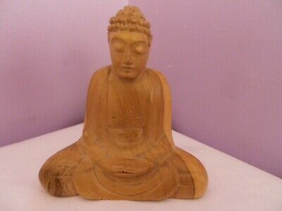 Fabulous Vintage Carved Wooden Sitting Buddha Figure 12.5 Cms Tall,12 Cms Long