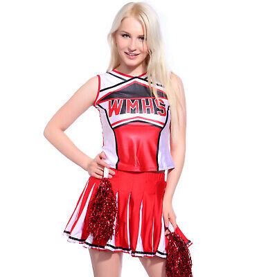 Cheerleader Fancy Dress Outfit Uniform High School Costume Pom Poms XL UK 16 18
