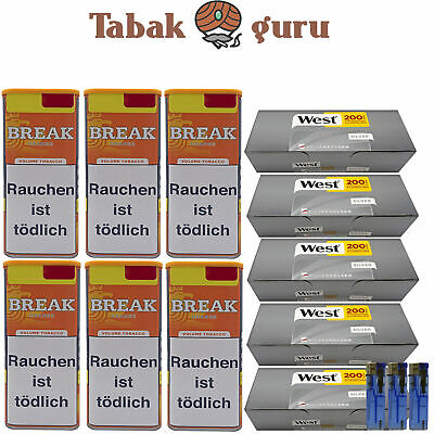 6 x Break Orange Tabak Inhalt 120 g Volumentabak, West Silver Hülsen, Feuerzeuge