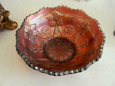 Gorgeous Circa 1900's Antique Rare Carnival Glass Bowl~Floral Design