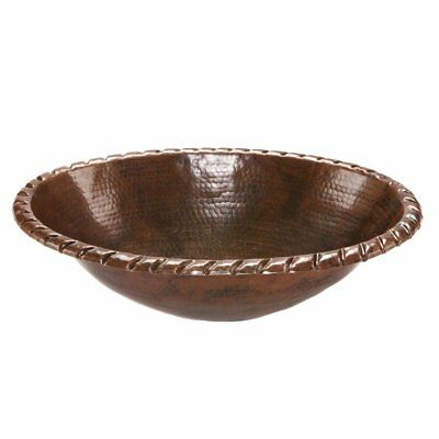 Premier Copper Products LO19RRDB Oval Roped Rim Self Rimming Hammered Copper