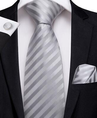 Classic Mens Tie Grey Striped Silk Necktie Set Hanky Cufflinks Formal Business