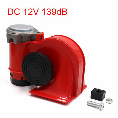 DC 12V 139dB Dual Tone Nautilus Compact Electric Air Pump Horn Red for Car