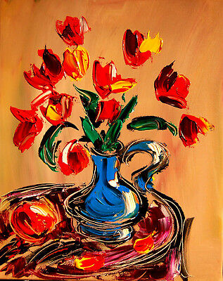 FLOWERS ABSTRACT  by Mark Kazav  Abstract Modern CANVAS Original  PAINTING  UIPY