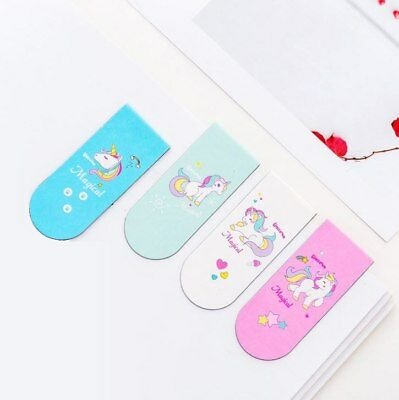 4 Unicorn Party Bag Fillers Cute Pastel Magnetic Bookmarks Girls Birthday Gift