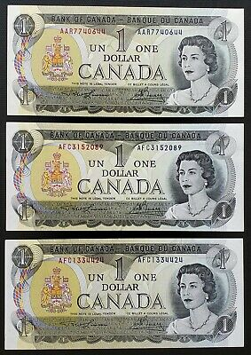 Lot 3x 1973 Bank of Canada $1 One Dollar Banknotes - Crisp Uncirculated