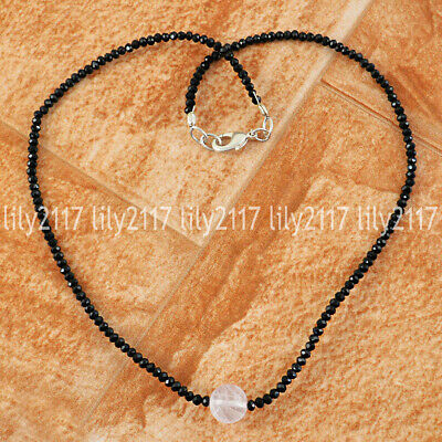 Natural Faceted Black Spinel & Round White Quartz Gemstone Beads Necklace 18''