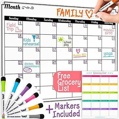 Dry Erase Monthly Calendar Set Large Magnetic White Board&Grocery List Organizer