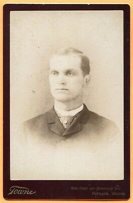 Portland, OR, Portrait of a Young Man, by Towne, circa 1890 Backstamp