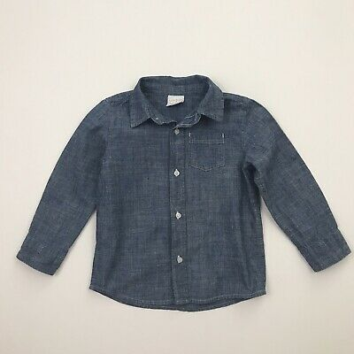 JUMPING BEANS Boys Size 3T Blue Chambray Long Sleeved Buttoned Shirt