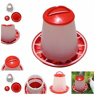 1.5kg Red Plastic Feeder Chicken Hen Poultry Drinkers Waterer with Lid & HandF8