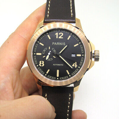 44mm Parnis Miyota Automatic Mens Business Watch Sapphire Crystal Rose Gold Case