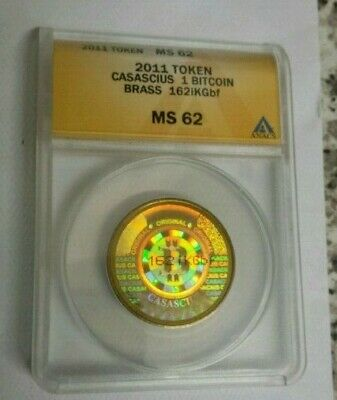 1 Bitcoin 2011 Casascius Error Coin, Rare, graded and genuine coin