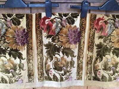 """Antique French cut velvet panel - 29"""" wide and 12.5"""" deep - floral"""
