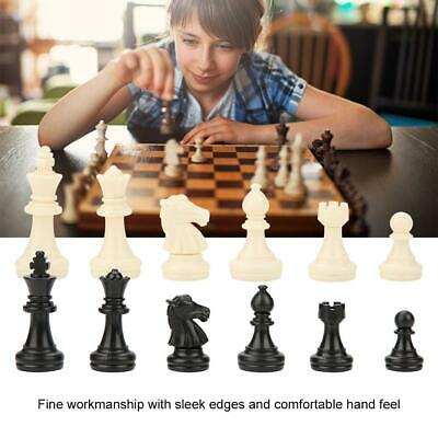 32 Tournament Chess Pieces Set Weighted Plastic Pieces with King Black&White ❤Ho