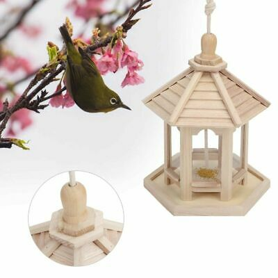Wood Bird House Birdhouse Hanging Nest Box Feeder W/ Hook Garden Decor