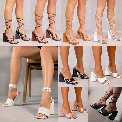 Womens Ladies Party Sandals Stiletto High Heels Pointed Strap Barely There Shoes