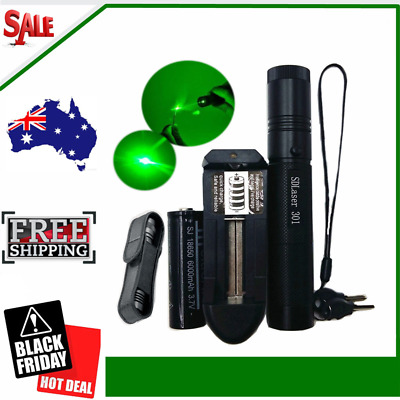 Professional Green 532NM Laser Pointer Lazer Pen Beam Burn with 18650 Battery AU