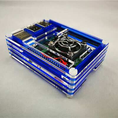 For Raspberry Pi 4 Model B Protector Box 9 Layer Acrylic Case with Cooling Fan