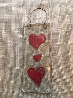 handmade fused glass heart wall hanging