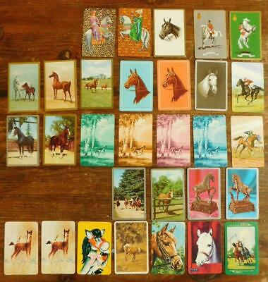 SC6 30x Vintage HORSE Theme 11 Plain Back 19 Playing Swap Cards